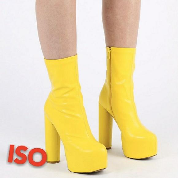 6311b05244 Public Desire Shoes | Iso Jessa Boots Yellow In 7 | Poshmark